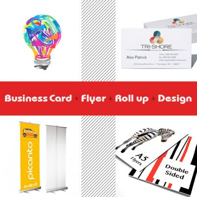 Business Cards and Flyer and roll up and design offer